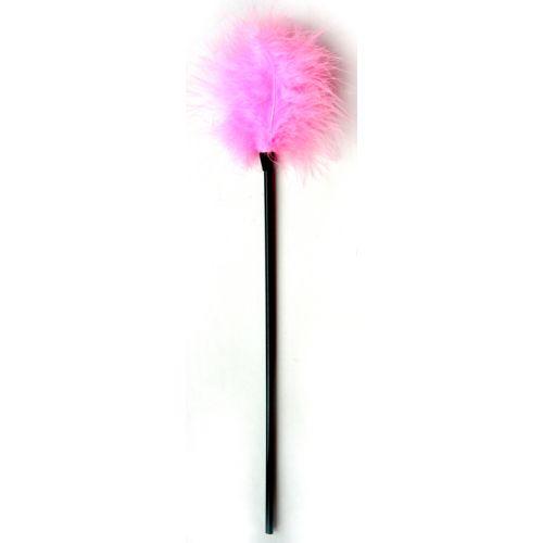 Щекоталка пластиковая  с нежными перьями Notabu розовая L 40см