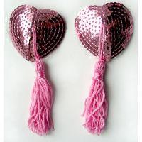 Пэстисы-накладки на соски в виде Сердечка Notabu розовые из текстиля