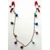 Зажимы для сосков с цепочкой 9 шариков, цвет в ассортименте, (металл) в силиконовой оболочке