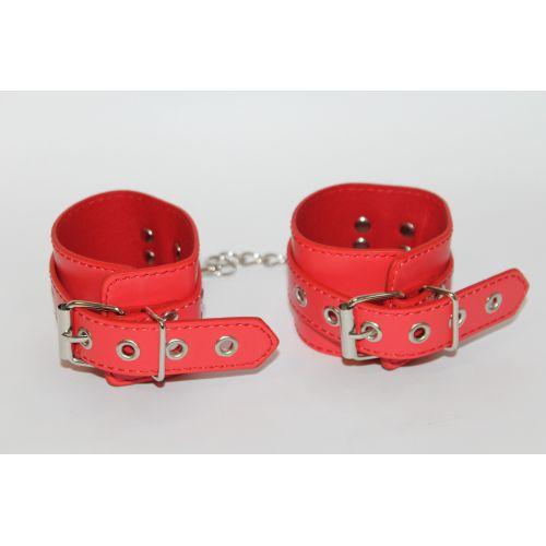Наручники для секса цвет красный L 20 см (PVC)