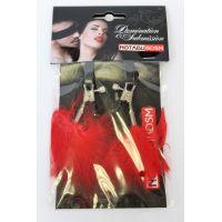 Зажимы на соски с красным пушком MLF-90103-16