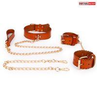 Комплект БДСМ кожаный с регулировкой размера (наручники, ошейник с поводком)