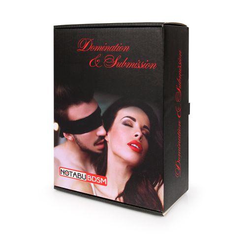 БДСМ набор Notabu (кляп, наручники, оковы, маска, ошейник с поводком, плеть, зажимы для сосков) красно-черного цвета