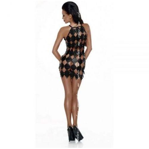 Платье черное с ромбовидным рисунком открытая спина L\XL Gwen Open Me-
