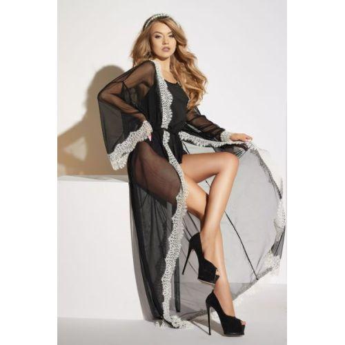 Сексуальный халат длинный чёрный Me-Seduce Ardea Lume di Luna M