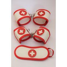 Комплект БДСМ-Фетиш наручники, оковы, маска текстильные на липучках и резинке Доктор-пациент