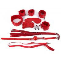 БДСМ комплект (наручники, оковы, маска, кляп, плеть, ошейник с поводком, верёвка, зажимы для сосков) Notabu NTB-80331