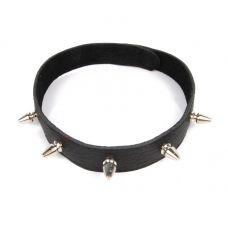 Ошейник БДСМ декоративный кожаный с металлическими шипами универсального размера Notabu L 40 см чёрный