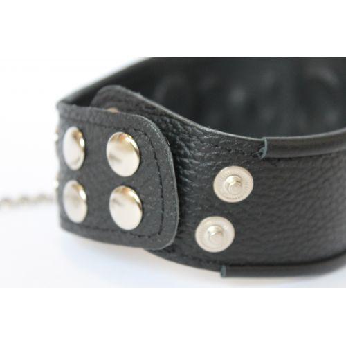 Ошейник кожаный универсального размера с металлическими заклепками Notabu чёрный L 42 см с металлическим кольцом для цепочки