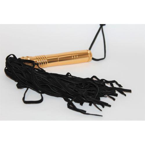 Плеть-флоггер из металла и кожи Notabu черное золото L хвоста 25 см