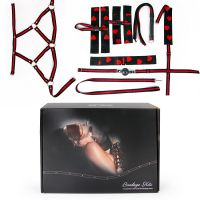 Набор БДСМ наручники, оковы, ошейник с поводком, кляп, маска, плеть, сбруя Notabu с регулировкой размера