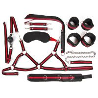 Набор БДСМ наручники, оковы, ошейник с поводком, кляп, маска, плеть, лиф Notabu регулировка размера
