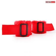 Наручники красные с мехом для эротических забав Notabu
