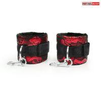 Наручники черно-красные с кружевом для эротических забав Notabu