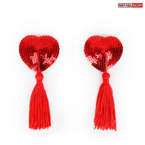 Пэстисы-наклейки на соски в форме сердечка с кисточками Notabu красные
