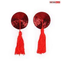 Пэстисы-наклейки на соски Notabu красные с игрыми кисточками