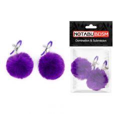 Зажимы для сосков с меховыми помпонами фиолетовые Notabu