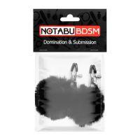 Зажимы для сосков с меховыми помпонами чёрные Notabu