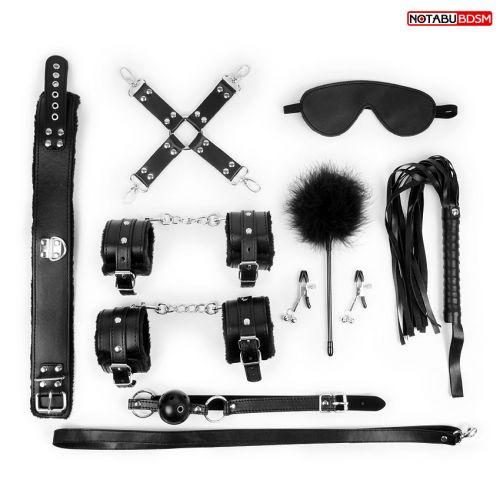 НАБОР для БДСМ-игр Notabu маска,кляп,зажимы,плётка,ошейник,наручники,оковы,щекоталка,фиксатор цвет чёрный
