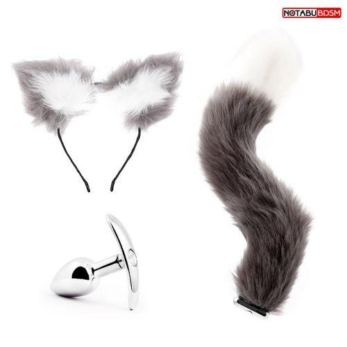 Анальная втулка из металла со сменной ручкой на хвост Notabu серый+в подарок ушки
