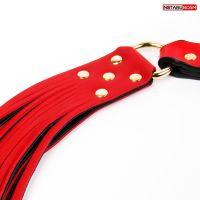 Набор для БДСМ красный (наручники, оковы, маска, ошейник, плеть, поводок, кляп, шлёпалка, зажимы)
