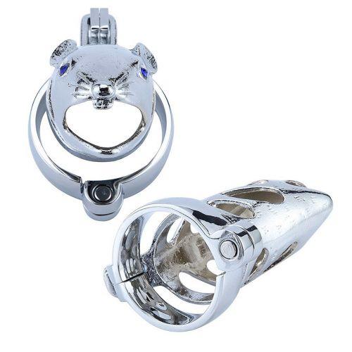 Пояс верности металлический для пениса L 80 мм D насадки 34 мм D кольца 40 мм