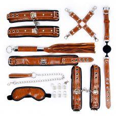 Набор для БДСМ (маска, ошейник, кляп, фиксатор, наручники, оковы, плеть) цвет коричневый