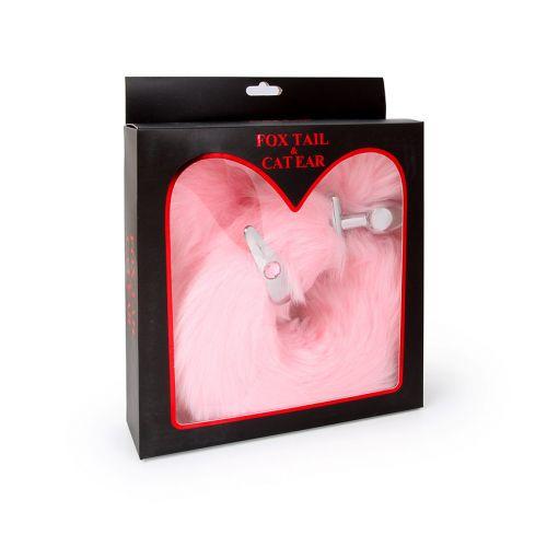 Металлическая анальная втулка с камнем и со сменым хвостом Notabu розовый L 60 мм D 27 мм+ ушки в подарок