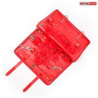 Набор БДСМ аксессуаров маска,фиксатор,ошейник с поводком,наручники,оковы,шлёпалка Notabu красный