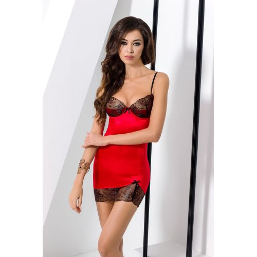 Эротическое красное платье BRIDA CHEMISE red L/XL - Passion
