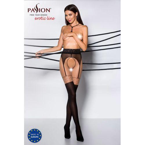Эротические колготки рисунок-точка с имитацией чулок TIOPEN 003 nero 3/4 (20/40 den) - Passion Страсть