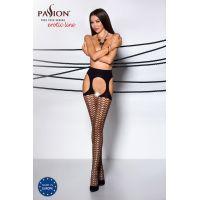Эротические колготки-сетка с имитацией чулок TIOPEN 004 nero 3/4 (fishnet 40 den) - Passion Страсть