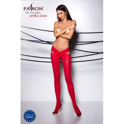Эротические колготки с эффектом пояса красного цвета TIOPEN 005 roso 1/2 (60 den) - Passion Страсть
