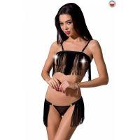 Комплект женского нижнего белья черный KASSANDRA SET WITH OPEN BRA S/M Passion Exclusive
