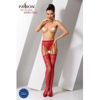 Эротические колготки с имитацией чулок с подвязками S016 red Красные Passion Страсть