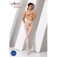 Эротические колготки с сексуальным вырезом на сладких местах S019 white Белые Passion Страсть