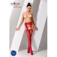 Эротические колготки с имитацией чулок с подвязками S020 red Красные Passion Страсть