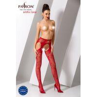 Эротические колготки имитация чулок с подвязками S022 red Красные Passion Страсть
