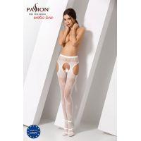 Эротические колготки имитация чулок с подвязками S022 white Белые Passion Страсть