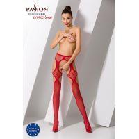 Эротические колготки имитация чулок с подвязками и пояском S023 red Красные Passion Страсть