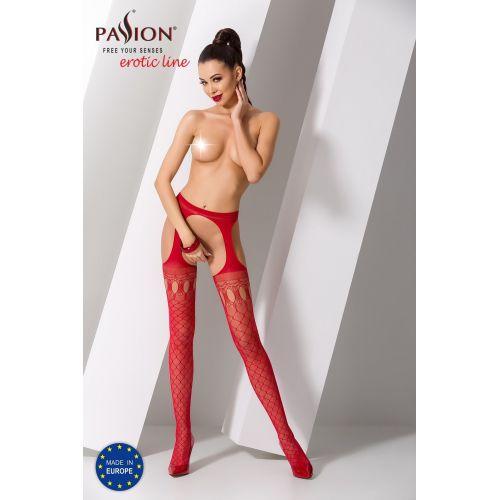 Эротические колготки имитация чулок с подвязками и пояском S024 red Красные Passion Страсть