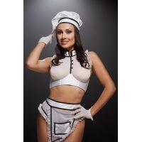 Сексуальный костюм повара для ролевых игр размер: XS/S белый