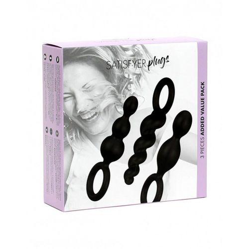 Набор анальных шариков черный Satisfyer Plugs 3 шт