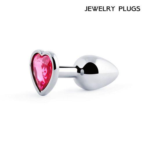 Анальная металлическая пробка Anal Jewelry с розовым камнем в виде сердца L 70 мм D 28 мм вес 50 г