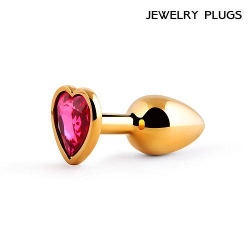 Втулка анальная золотая с рубиновым камнем Anal Jewelry Plug в виде сердца L 70 мм D 28 мм вес 50 г