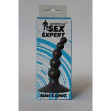 Анальная пробка-массажер простаты силиконовая изогнутая Sex Expert черная L 8,5 мм D 1,5x1,8x2,4 см