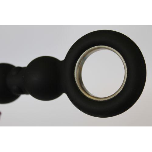 Анальный стимулятор-елочка пупырчатый силиконовый с ручкой-кольцом чёрный SEX EXPERT L 17 см D 1,9x3,1 см, цвет