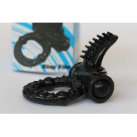 Эрекционное вибро кольцо с отростком-язычком для стимуляции клитора SEX EXPERT D 2,7 см черное