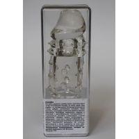 Насадка для увеличения пениса с рельефной поверхностью - Сказочный кайф  Sex Expert L 15 см D 4 см силиконовая