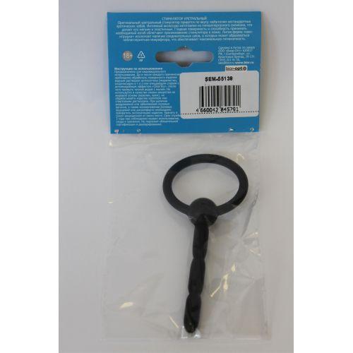 Уретральный стимулятор 6 см/0,8 см эластичный силиконовый с кольцом-ограничителем SEX EXPERT чёрный